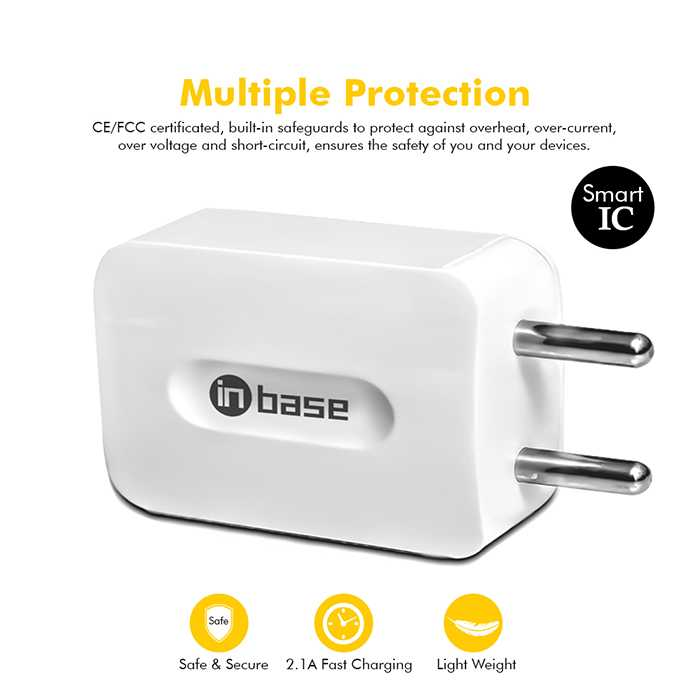 2.1A Dual USB travel charger with Lightning Cable