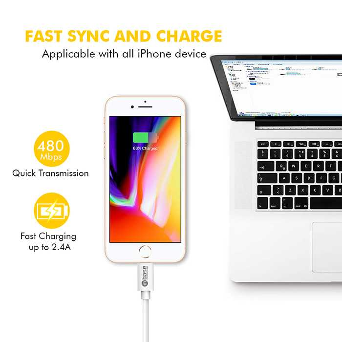 Lightning Cable - Charge and Sync - White 1.2M