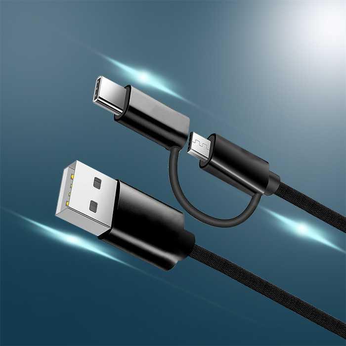 2 in 1 Cable - Nylon Braided - M+C 25CM
